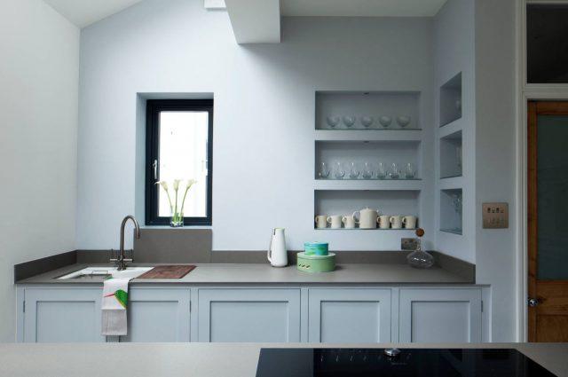 Built in wall kitchen shelves
