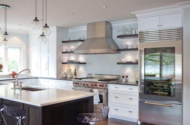 Dark shelves on both sides of the cooker hood