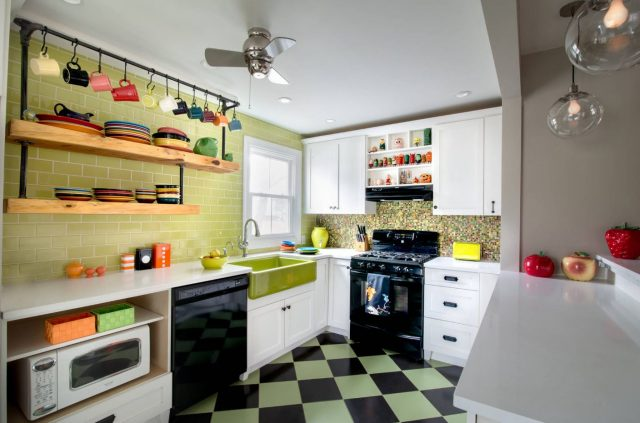 Hanging Kitchen Shelves Suspended From Ceiling