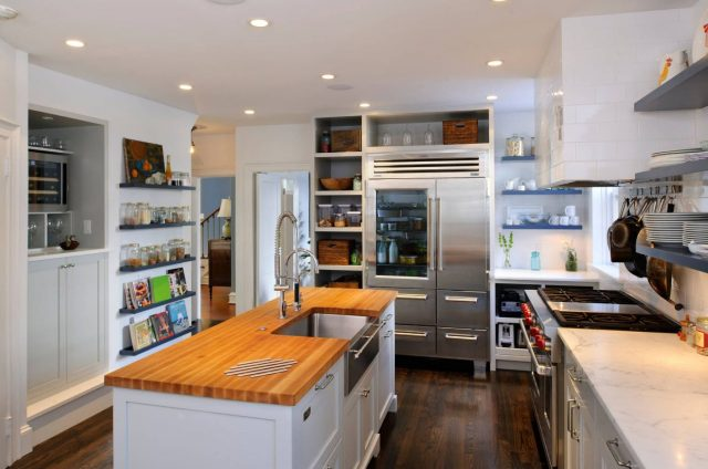 Kitchen interior design with open shelves