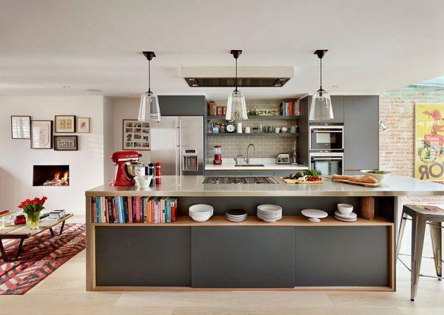 Kitchen island open shelves