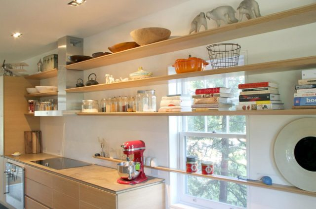 Open kitchen shelves and window