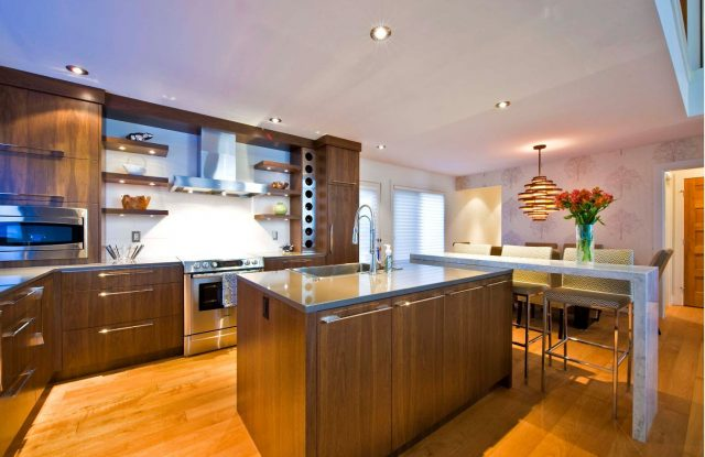 Open kitchen shelves with lighting