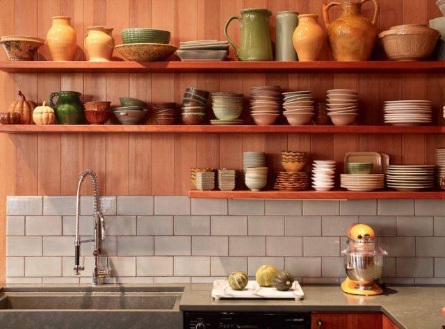 Open shelves as a part of a kitchen interior
