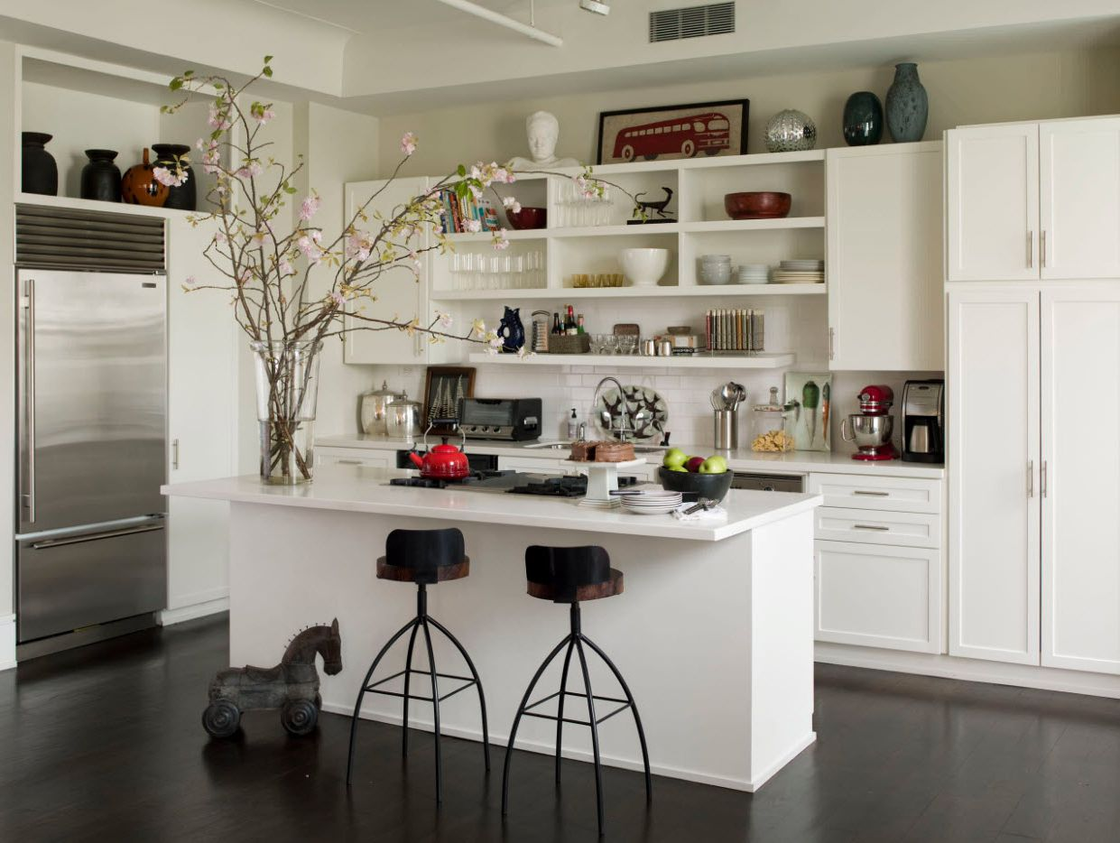 open shelves as a part of a kitchen interior. Black Bedroom Furniture Sets. Home Design Ideas