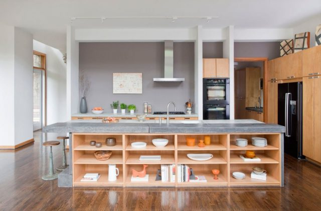 Open shelves in the kitchen island