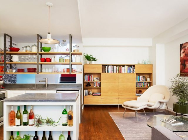 Suspended shelves above the kitchen island