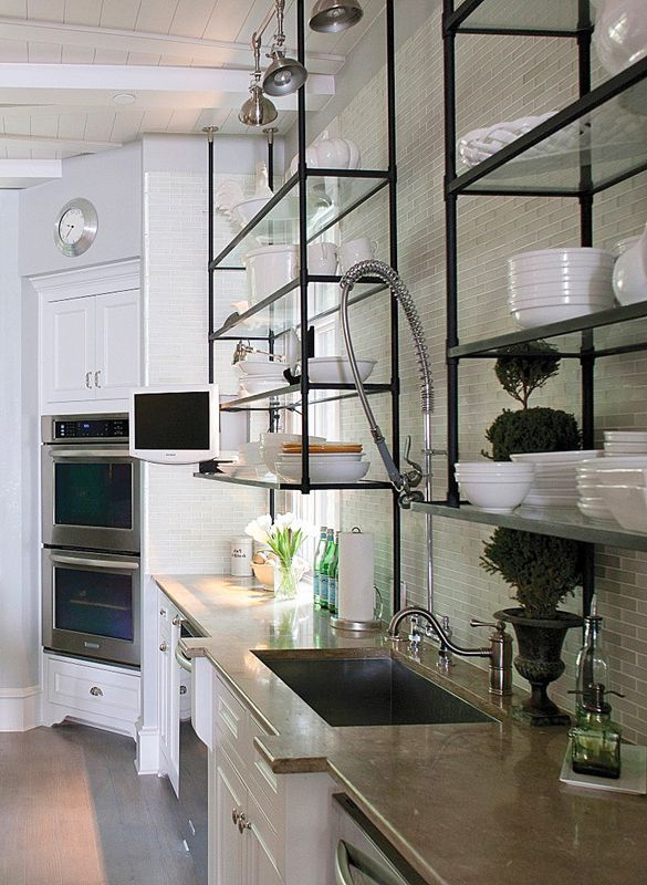 Suspended shelves in the kitchen