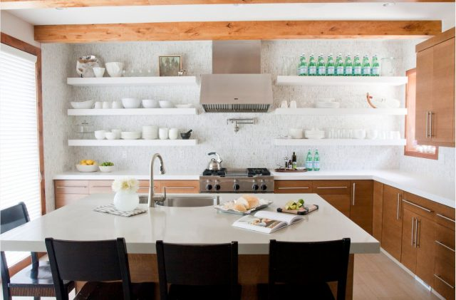 White open shelves and stainless steel kitchen hoods