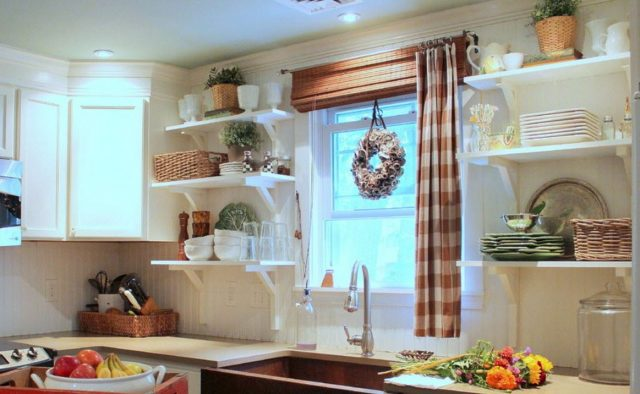 White open shelves in the country kitchen