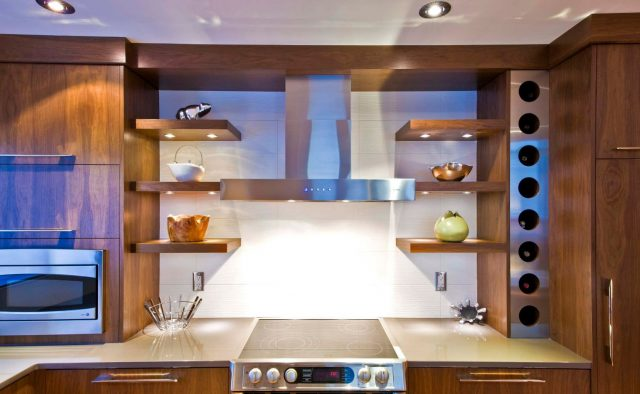 Wooden kitchen shelves with lighting