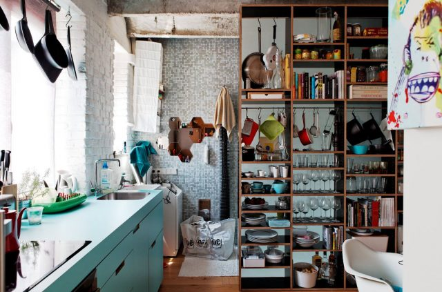 Wooden open shelving in the kitchen