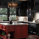 Red kitchen island with cabinets